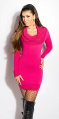 KouCla Úpletové šaty s rolákem růžové