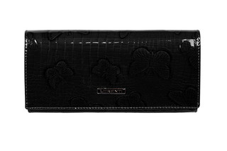 Lorenti Dámská italská kožená velká černá peněženka 72401-RSBF BLACK