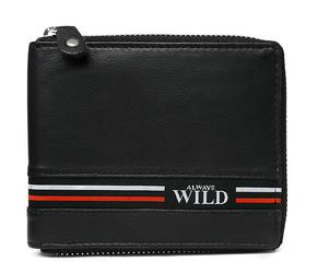 Pánská i dámská černá kožená peněženka ALWAYS WILD N992Z-GV-BLACK