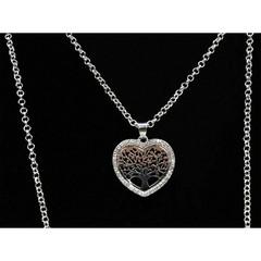 Dlouhý řetízek s přívěskem strom života a srdce stříbrný s kamínky Lorenti