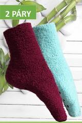 Pesail dámské bambusové ponožky protiskluzové,vysoké, černé a modré, 2 páry