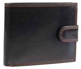 Pánská luxusní kožená pěněženka Ricardo Ramos černá lesklá se zapínáním KVT-333L