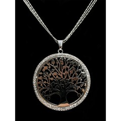 Dlouhý řetízek s přívěskem strom života stříbrný s kamínky Lorenti