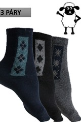 Pánské termo ponožky bussines z ovčí vlny 3 páry modré,černé, šedé