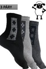 Pánské termo ponožky bussines z ovčí vlny 3 páry černé, šedé