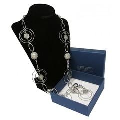 Masivní dlouhý náhrdelník stříbrný s perlami Lorenti